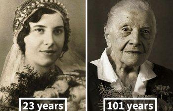 10 imagini fascinante cu persoane fotografiate in tinerete si la varsta de 100 de ani