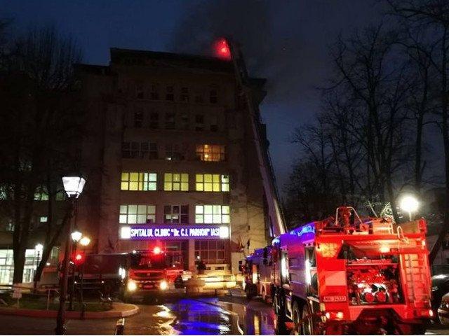 Incendiu la Institutul de Boli Cardiovasculare din Iasi/ VIDEO