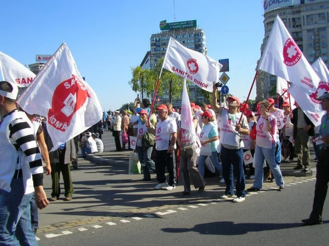 Sindicalistii din cadrul Federatiei Sanitas, in greva de avertisment