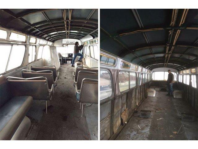 Autobuz transformat intr-un apartament mobil