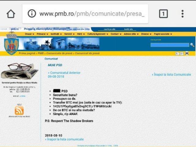 Site-ul Primariei Capitalei a fost tinta unui atac informatic