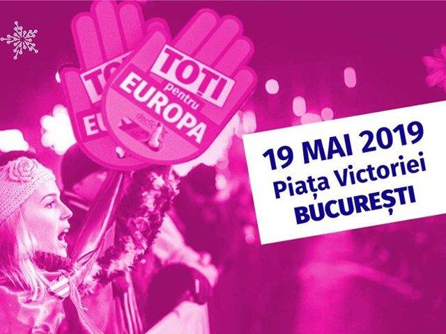 Toti pentru Europa! Mobilizare in Piata Victoriei pentru a indemna romanii sa iasa la vot