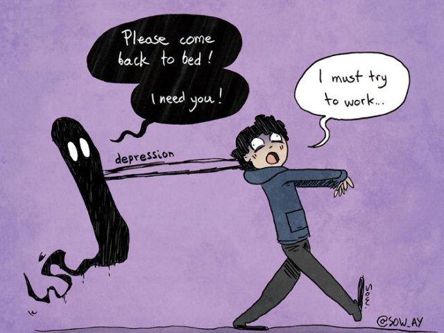 10+ ilustratii realiste care arata modul in care depresia si anxietatea ne afecteaza in viata de zi cu zi