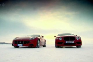 [VIDEO] Ferrari FF vs. Bentley Continental V8 pe GHEATA! Cine castiga?