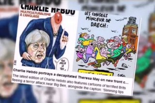 Charlie Hebdo a publicat o caricatura in care Theresa May apare decapitata si a ironizat victimele de pe London Bridge